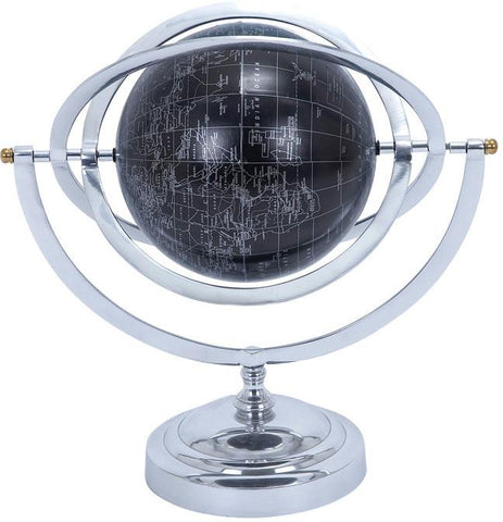 Benzara 28352 Metal Globe With White Mapping On Matte Black Background