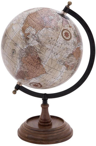 Benzara 38115 Wooden And Metal Globe In Brown Finish And Intricate Detailing