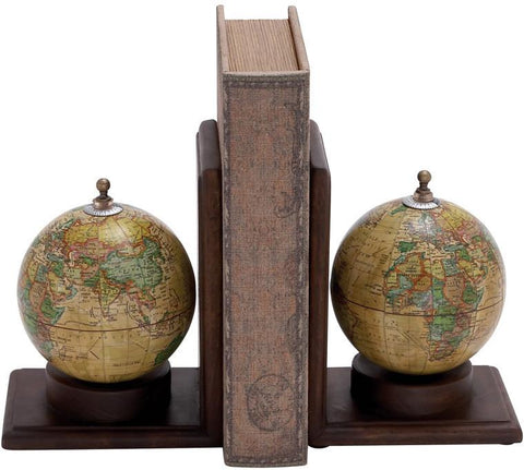 "Bayden Hill Wd Mtl Globe Book End 8""H, 6""W - Peazz.com"