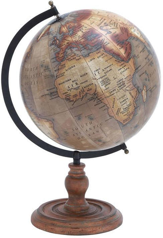 Benzara 38135 Wooden Globe With Distinctive Pattern In Rustic Color
