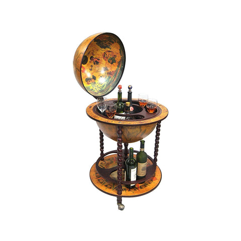 "Merske mk45032r 16th Century Italian Style 20"" Diameter Floor Globe Bar w/ Twisted Floor Stand"