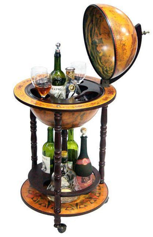 "16th Century 17-1/2"" Diameter Italian Replica Floor Globe Bar - Peazz.com"