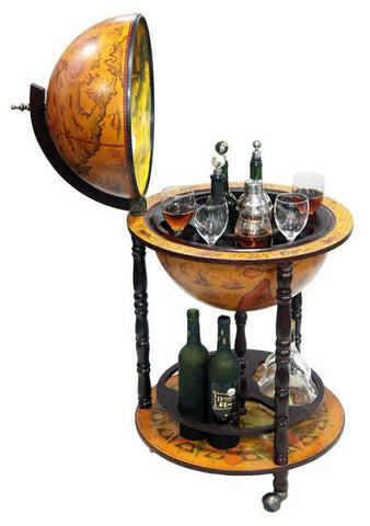 "Firenze 20"" Diameter Italian Replica Floor Globe Bar - Peazz.com"