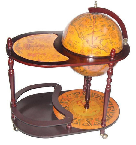 "Arezzo 17-1/2"" Diameter Floor Globe Bar Trolley - Peazz.com"