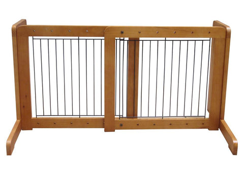 "Free Standing Pet Gate - 23.6""-39.4""L x 20.1""H x 21.6""D - Light Oak (MK81721-LO) - TrueGlobes"