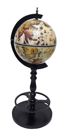 "Merske MK33033W-B Sicilia Italian Style 15-1/2"" Diameter Single Leg Floor Globe Bar - White - Peazz.com"