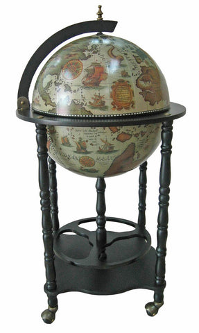 "Merske MK42032W-B Firenze Italian Style 20"" Diameter Floor Globe Bar w/ Twisted Floor Stand - White - Peazz.com"