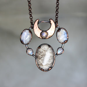 Rutilated Quartz with Moonstones & Crescent