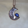 Violet Agate Crescent with Lapis - A