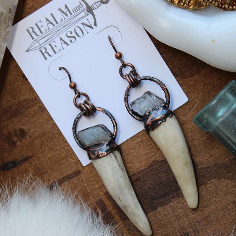Antler & Aquamarine Earrings - B