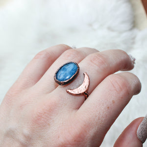 Blue Apatite Crescent Ring size 6.5