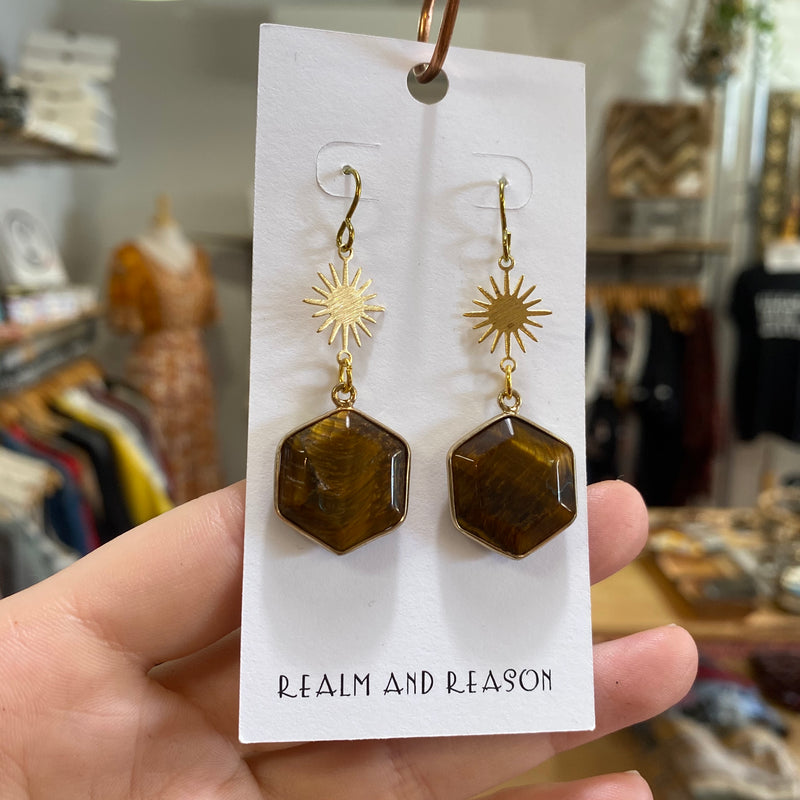 Brass Earrings with Tiger's Eye