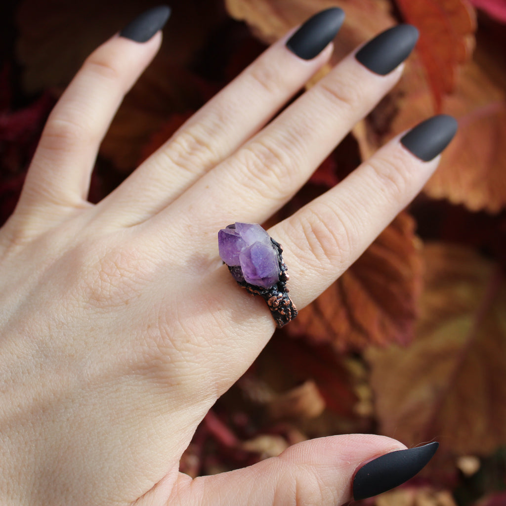 Raw Amethyst Cluster Ring size 8.25