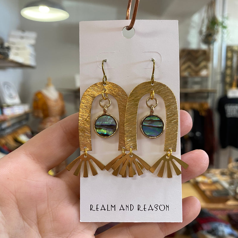 Brass Earrings with Abalone