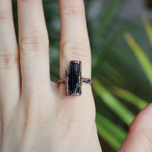 Black Tourmaline Ring size 8.75