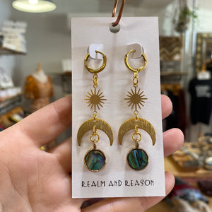 Brass Earrings with Moon and Abalone