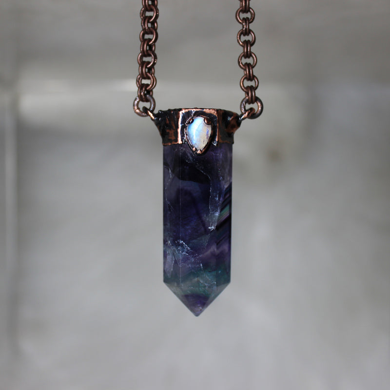 Medium Fluorite + Moonstone Necklace