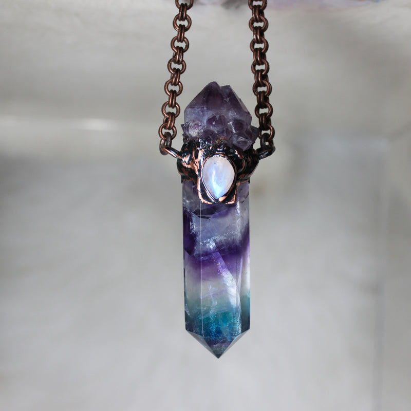 Larger Fluorite + Spirit Quartz Necklace