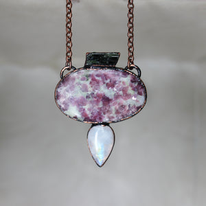 Pink Tourmaline in Quartz, Green Diopside, Moonstone