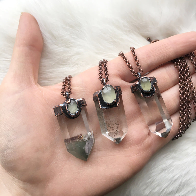 Chlorite Phantom + Prehnite Necklace you choose