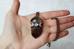 Celestial Amphibole Necklace with Lodolite + Moonstone