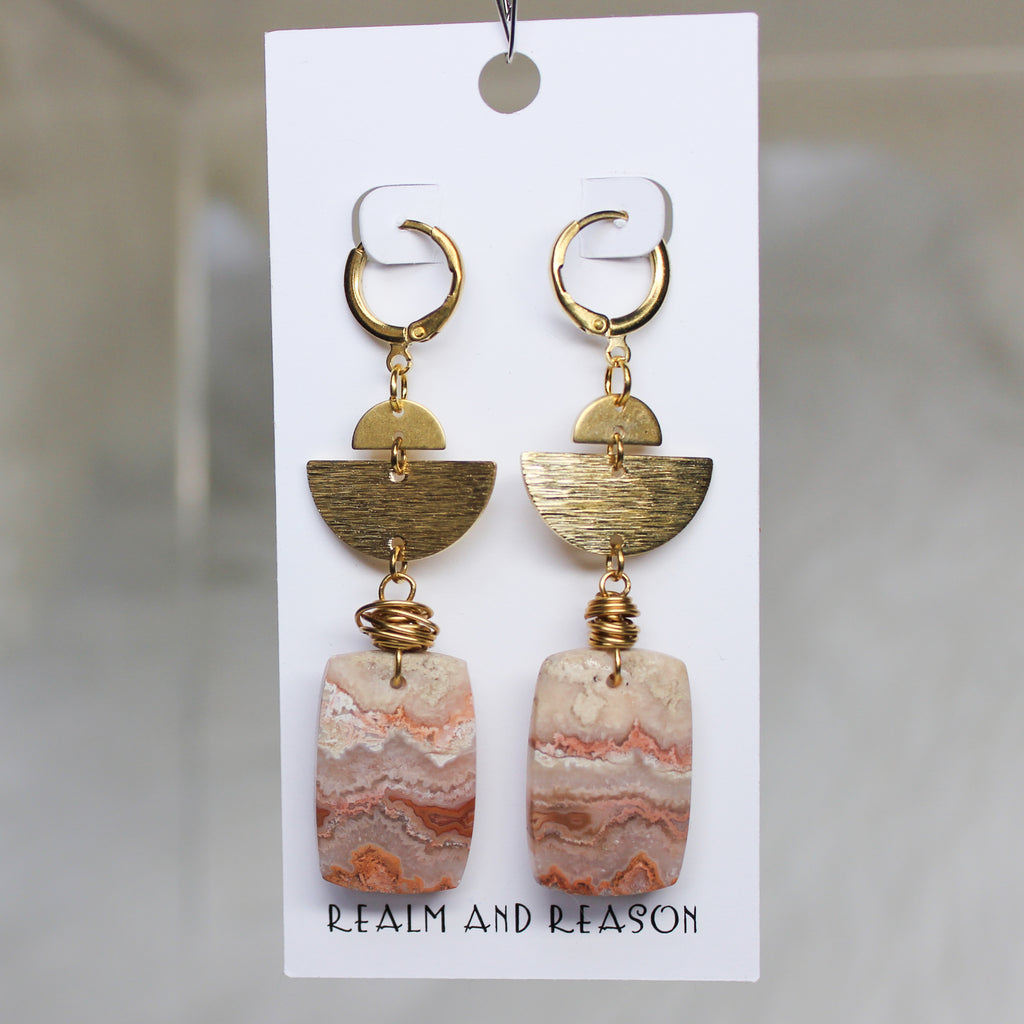 Brass & Pink Banded Agate Earrings
