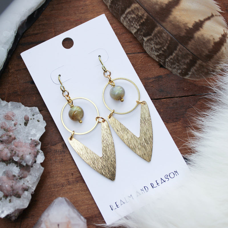 Brass & Round Labradorite Earrings A