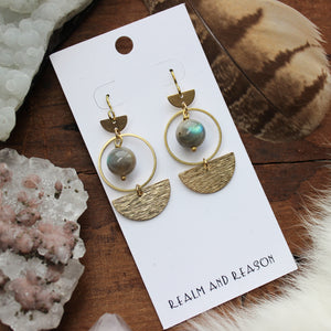 Brass & Round Labradorite Earrings B