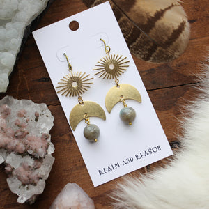 Brass  labradorite Earrings D