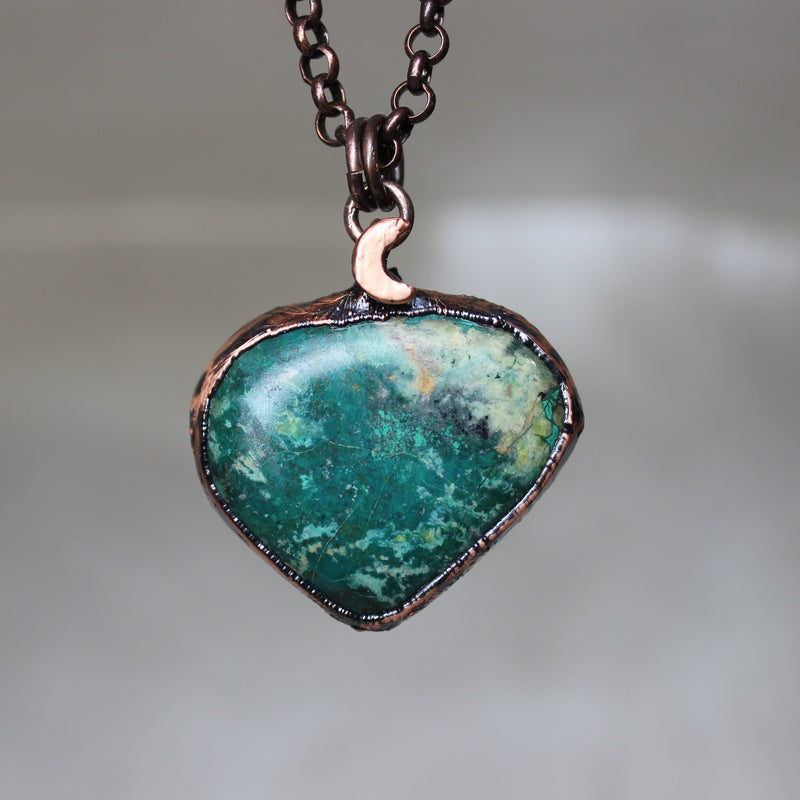 Chrysocolla Moon Necklace - B