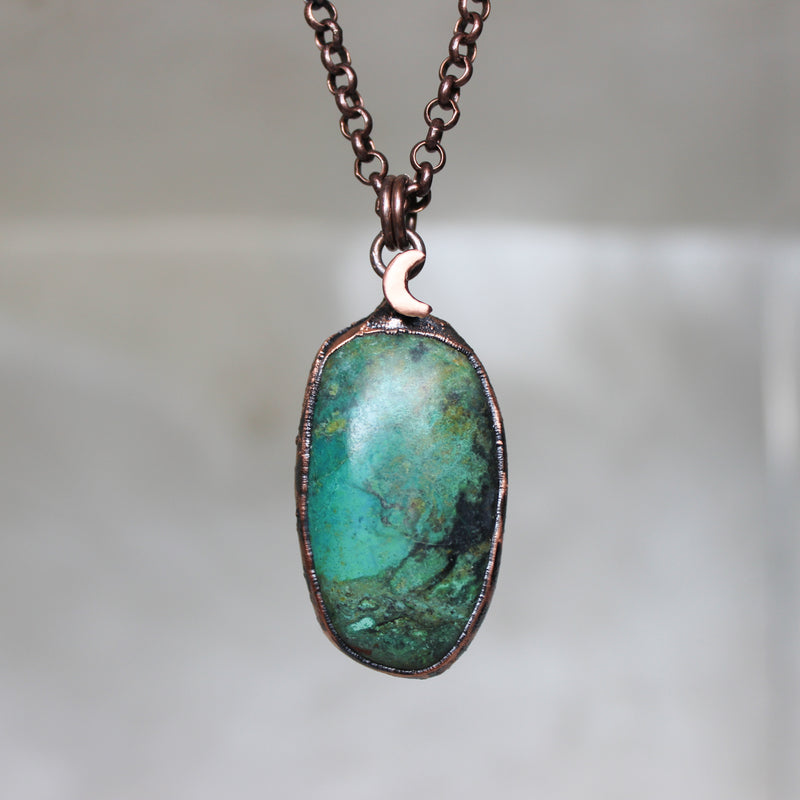 Chrysocolla Moon Necklace - C