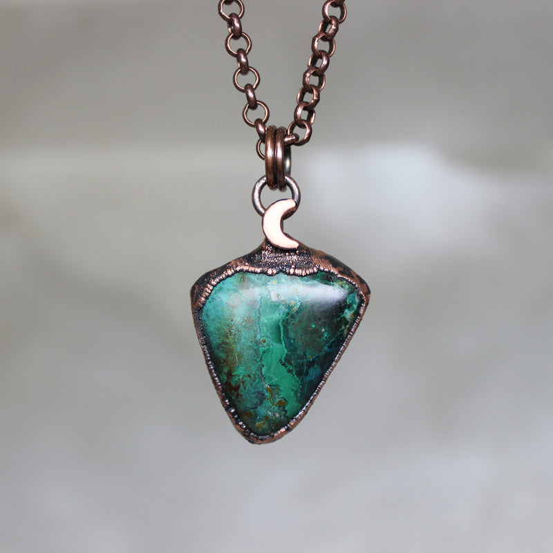 Chrysocolla Moon Necklace - E