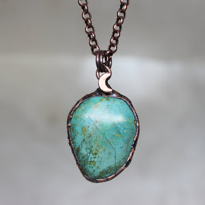 Chrysocolla Moon Necklace - F