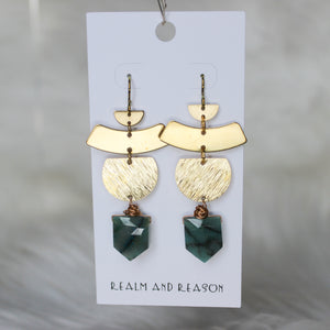 Brass & Faceted Chrysocolla Earrings