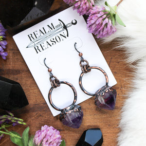 Raw Amethyst Earrings - A