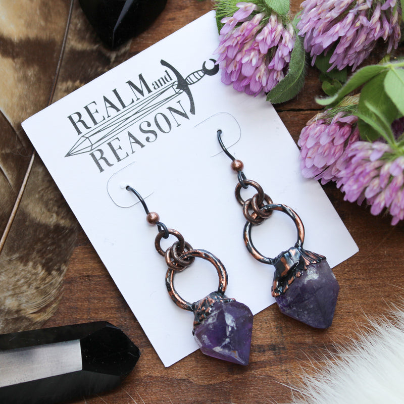 Raw Amethyst Earrings - B