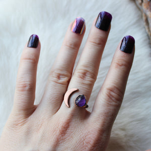 Crescent Ring with Fluorite Size 6.25