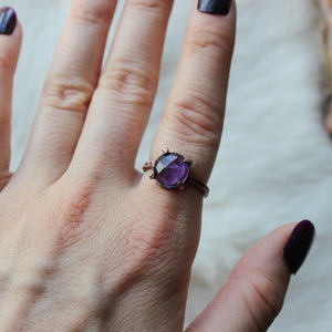 Prong Set Faceted Amethyst Ring size 7.5