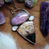 Purple Labradorite, Palm Root Fossil & moonstone