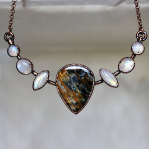 Pietersite and Rainbow Moonstone Bib Necklace