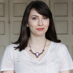 Gem Lepidolite Branch Bib Necklace