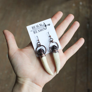 Antler & Garnet Earrings (long)