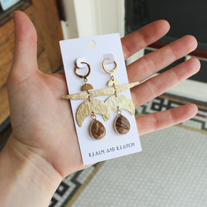 Brass Earrings with Picture Jasper