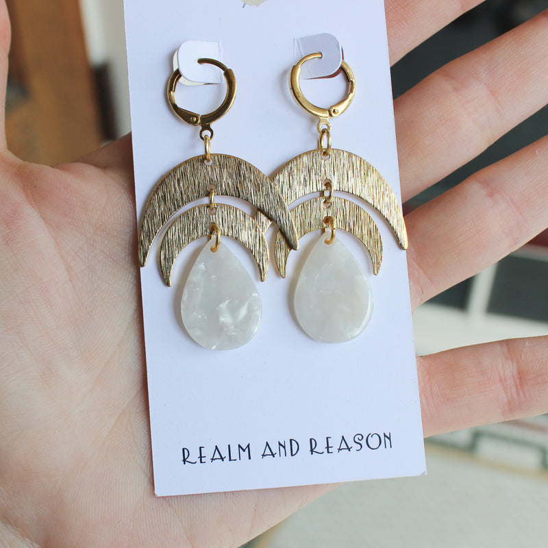 Brass Earrings with Double Moons