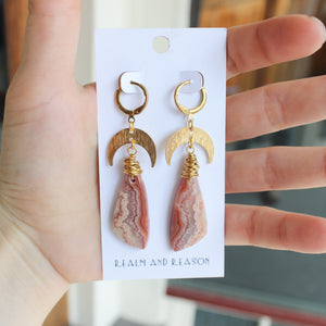 Brass Earrings with Rhodochrosite