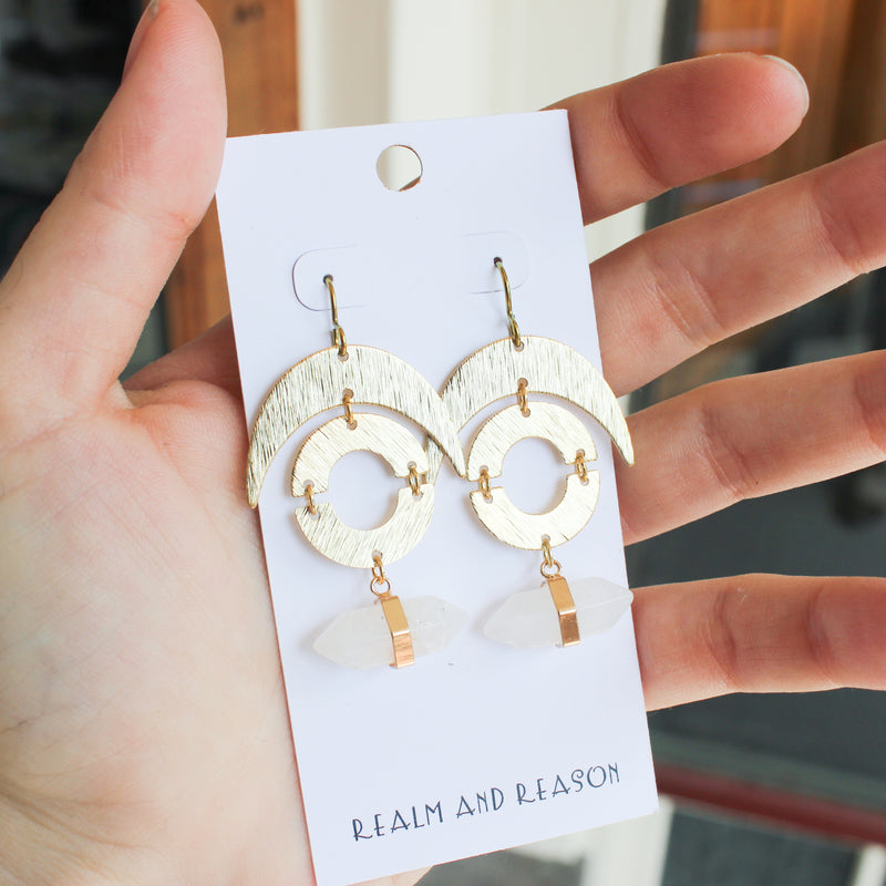 Brass Earrings with DT Quartz