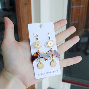 Brass Earrings with Tortoise Shell Moon