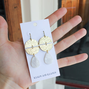 Brass Earrings With Pearly Acrylic Drops