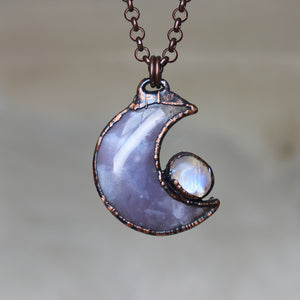 Violet Agate Crescent with Rainbow Moonstone - A