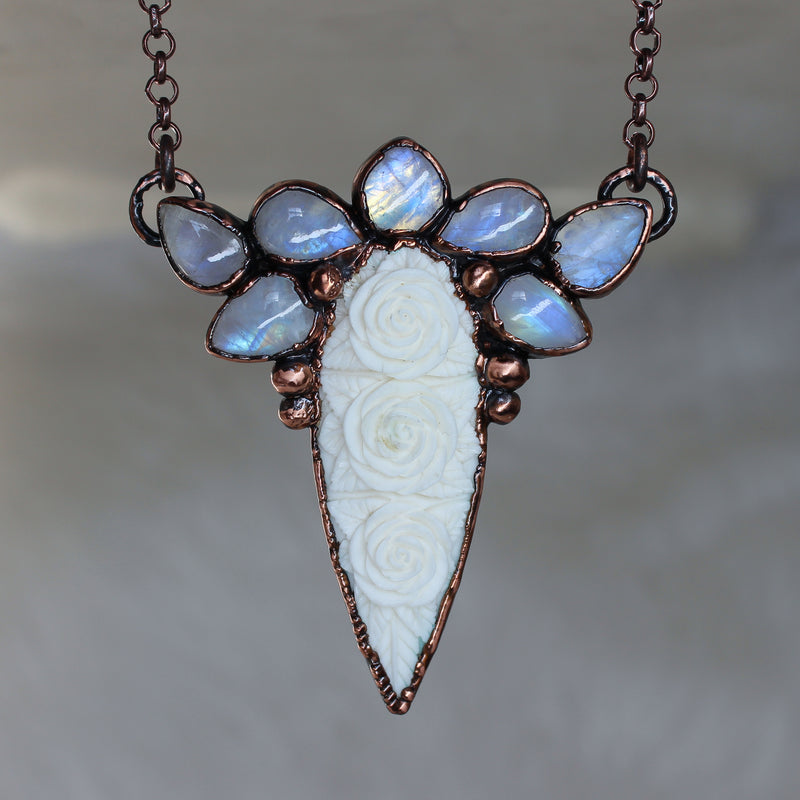 Rainbow Moonstone Fae Necklace